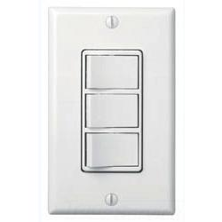 THREE-FUNCTION CONTROL FOR USE WITH SENSING FAN/LIGHTS (TOP SWITCH PROVIDES THREE SETTINGS FOR SENSOR ON/AUTO/OFF), REMAINING SWITCHES CONTROL LIGHT, NIGHT LIGHT AND QT HEATER/FAN/LIGHT/NIGHT LIGHT (TOP SWITCH CONTROLS LIGHT AND NIGHT LIGHT, REMAINING SWI