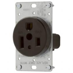 RECP SINGLE FLUSH 50A 250V 2P3W BK EWD 1254-BOX RECP SINGLE FLUSH 50A
