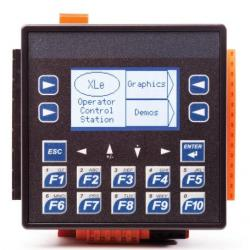 XLe Series OCS with DC/Relay I/O.  Twelve (12) Digital Inputs compatible with 12V/24VDC - four (4) inputs can be used for 10kHz High Speed Counting.  Six (6) Relay Outputs - up to 5A continuous current.  Four (4) 10-bit Analog Inputs selectable between 0-