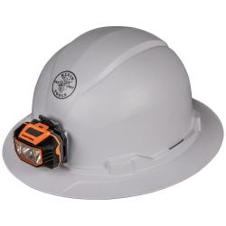 HARD HAT, NON-VENTED, FULL BRIM STYLE WITH HEADLAMP
