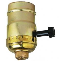 3-WAY TURN-KNOB SOCKET POLISHED BRASS FINISH