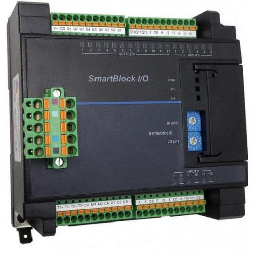 SmartBlock AC Power Monitor (3-phase).  Provides complete power measurements, including voltage, current, power, power factor, etc.  Direct connect up to 600Vac (voltage), and 0-5A (current) per phase