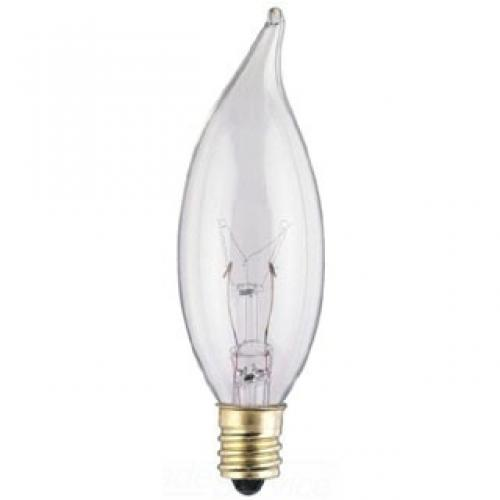 15W CA8 FLAME TIP INCANDESCENT CLEAR E12 (CANDELABRA) BASE, 120 VOLT, BOX
