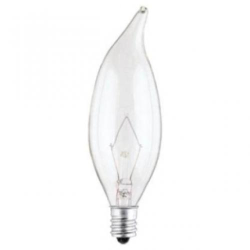 40W CA9 1/2 FLAME TIP INCANDESCENT CLEAR E12 (CANDELABRA) BASE, 130 VOLT, BOX
